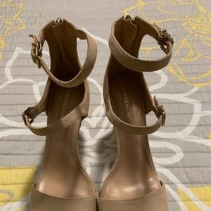 Antonio Melani Tan Suede Open Toe Strappy Heel